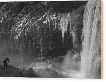 Photographer At Vernal Falls Wood Print