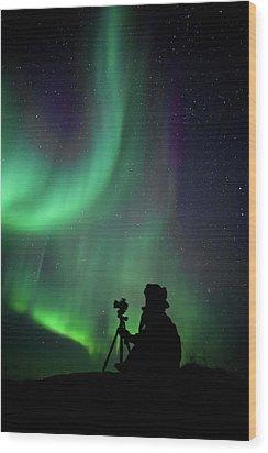 Photographer Catching Beautiful Light Wood Print by Lars Mathisen Photography