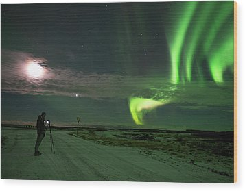 Wood Print featuring the photograph Photographer Under The Northern Light by Dubi Roman