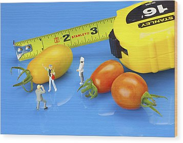Wood Print featuring the photograph Photography Of Tomatoes Little People On Food by Paul Ge