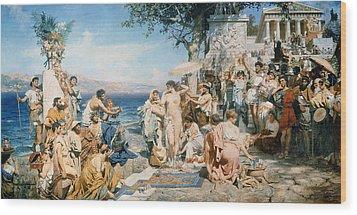 Phryne At The Festival Of Poseidon In Eleusin Wood Print by Henryk Siemieradzki