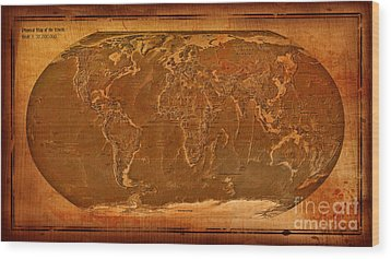 Physical Map Of The World Antique Style Wood Print by Theodora Brown