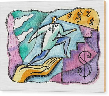 Wood Print featuring the painting Physician And Money by Leon Zernitsky