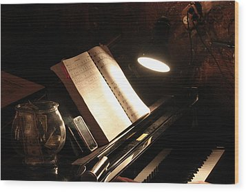 Piano Bar Wood Print by Lauri Novak