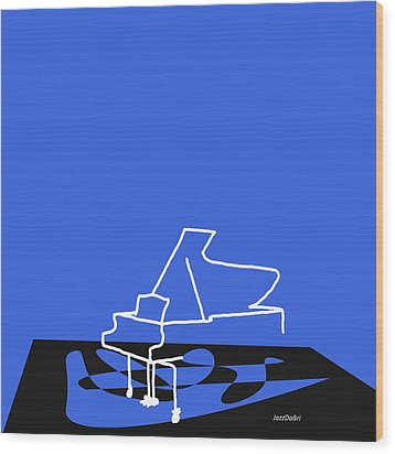 Piano In Blue Wood Print by David Bridburg