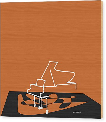 Piano In Orange Wood Print by David Bridburg