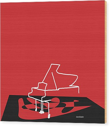 Piano In Red Wood Print by David Bridburg