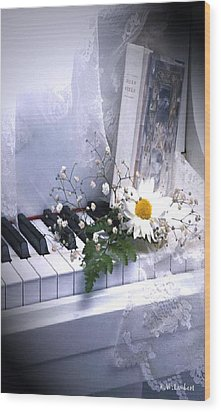 Piano Wood Print by Kenneth Lambert