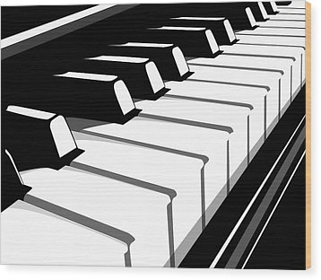 Piano Keyboard No2 Wood Print by Michael Tompsett