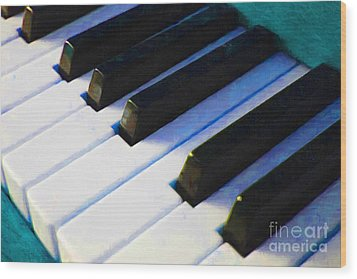 Piano Keys . V2 . Blue Wood Print by Wingsdomain Art and Photography
