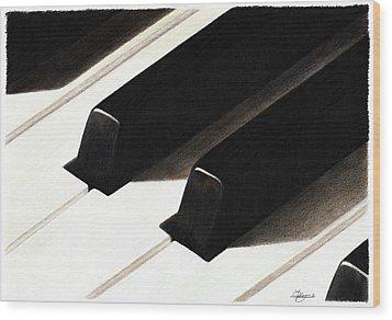 Piano Keys Wood Print by Jeanne Delage