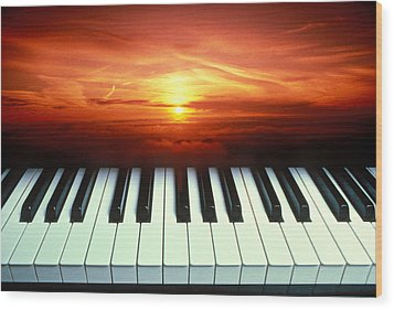 Piano Keys Sunset Wood Print by Garry Gay