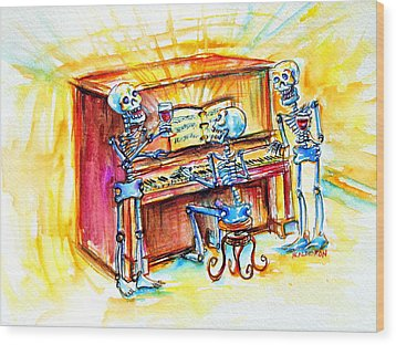 Wood Print featuring the painting Piano Man by Heather Calderon