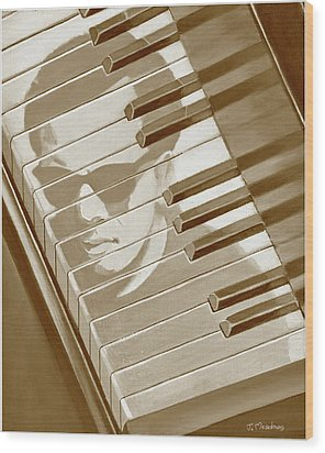 Piano Man In Sepia Wood Print by J L Meadows