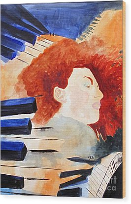 Wood Print featuring the painting Piano by Sandy McIntire