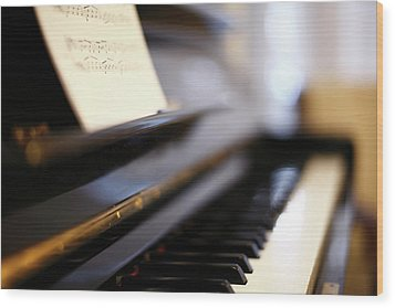 Piano With Blur Wood Print by Photo by Giuseppe Amato