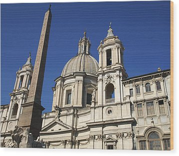 Piazza Navona. Navona Place. Church St. Angnese In Agona And Egyptian Obelisk. Rome Wood Print by Bernard Jaubert