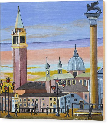 Piazza San Marco Wood Print by Donna Blossom