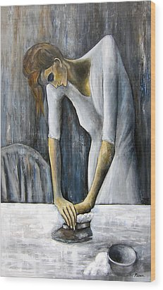 Picasso's Woman Ironing Wood Print