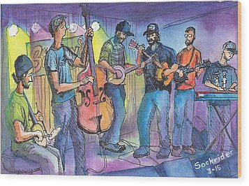 Wood Print featuring the painting Pickin On Phish At Barkleys by David Sockrider