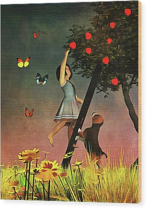 Picking Apples Together Wood Print