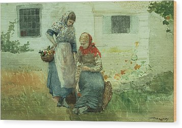 Picking Flowers Wood Print by Winslow Homer