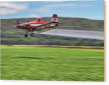 Picking It Up And Putting It Down - Crop Duster - Arkansas Razorbacks Wood Print by Jason Politte