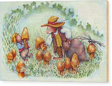 Picking Mushrooms Wood Print by Peggy Wilson