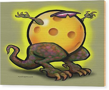 Pickleball Beast Wood Print by Kevin Middleton