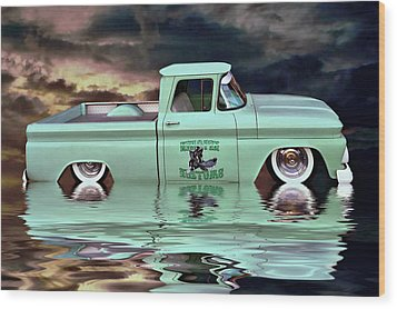 Wood Print featuring the photograph Pickup Reflections by Steven Agius