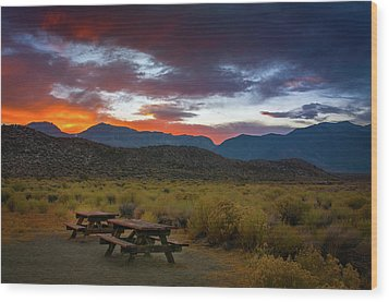 Picnic Tables At Sunset Wood Print