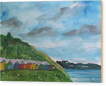 Picture Postcard View Of Scarborough Wood Print by Carole Robins