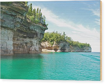 Pictured Rocks Wood Print