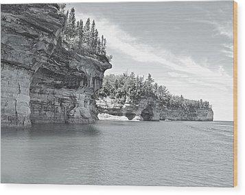 Pictured Rocks Shoreline National Park Wood Print by Michael Peychich