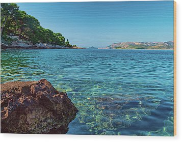 Picturesque Croatia Offers Tourists Pristine Beaches Of The Adriatic, Surrounded By Pine Trees And R Wood Print