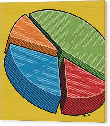 Wood Print featuring the digital art Pie Chart by Ron Magnes