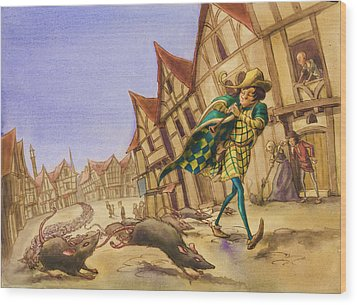 Pied Piper Rats Wood Print by Andy Catling