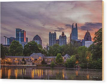 Wood Print featuring the photograph Piedmont Park Midtown Atlanta Sunset Art by Reid Callaway