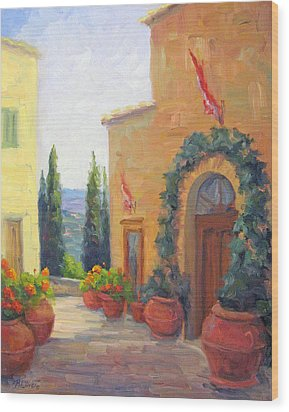Pienza Passage Wood Print by Bunny Oliver