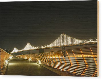 Pier 14 And Bay Bridge Lights Wood Print