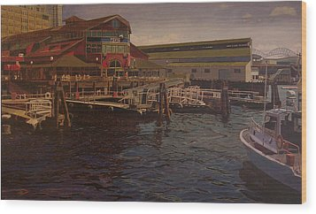 Pier 55 - Red Robin Wood Print by Thu Nguyen