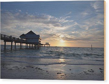 Pier 60 At Clearwater Beach Florida Wood Print by Bill Cannon