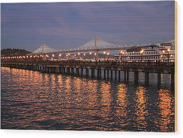 Pier 7 And Bay Bridge Lights At Sunset Wood Print