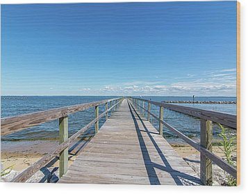 Wood Print featuring the photograph Pier At Highland Beach by Charles Kraus