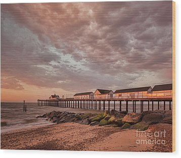 Wood Print featuring the photograph Pier At Sunrise by Colin and Linda McKie