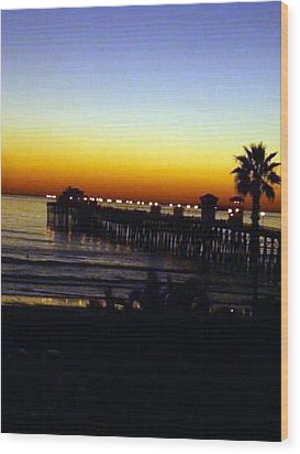 Wood Print featuring the photograph Pier At Sunset by Amanda Eberly-Kudamik