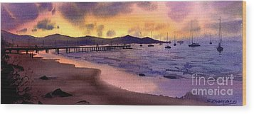 Wood Print featuring the painting Pier At Sunset by Sergey Zhiboedov