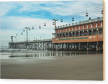 Pier Daytona Beach Wood Print by Carolyn Marshall