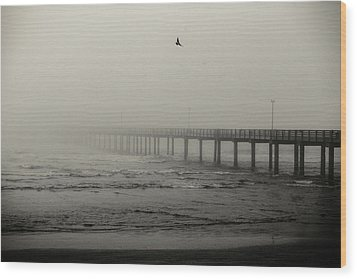 Pier In Fog Wood Print