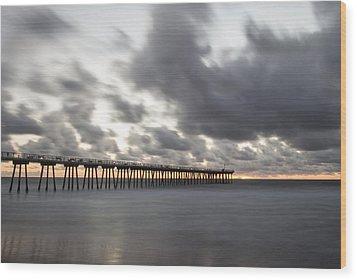 Pier In Misty Waters Wood Print by Ed Clark
